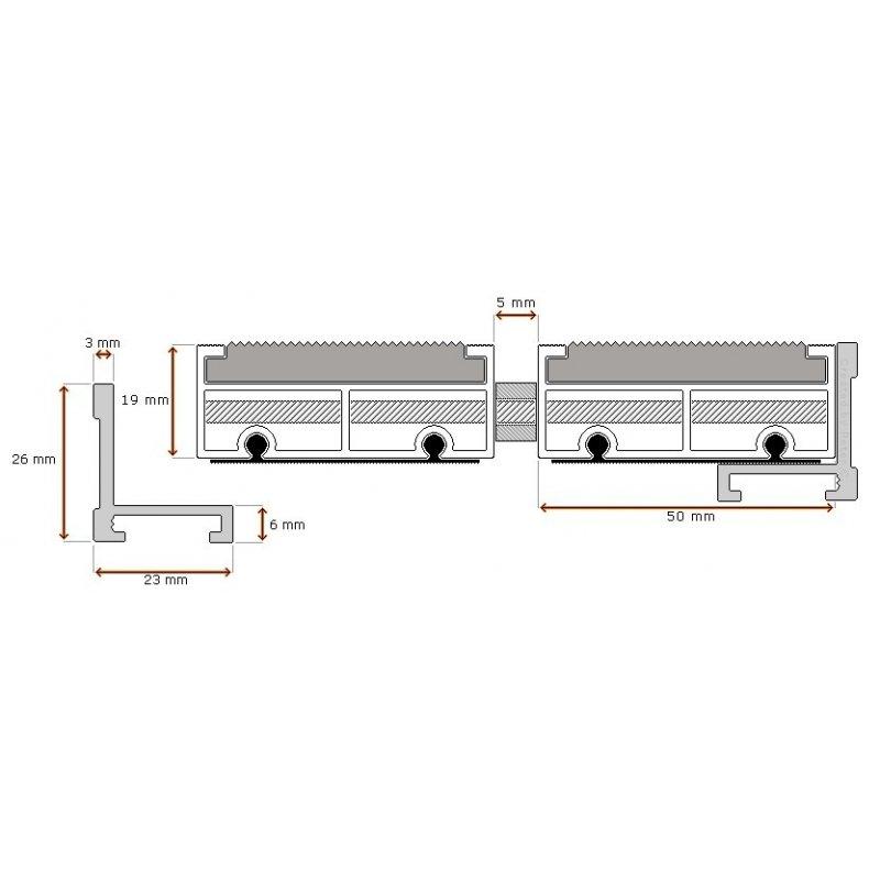 Wycieraczka aluminiowa BETA XL 19 mm