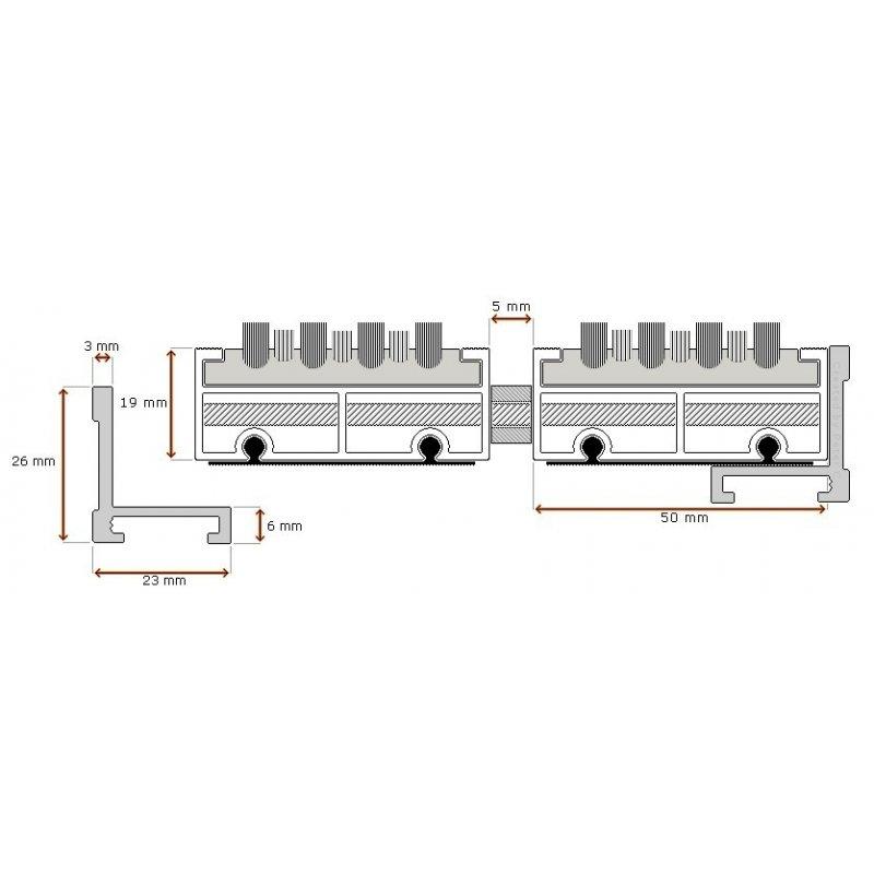 Wycieraczka aluminiowa GAMMA XL 19 mm
