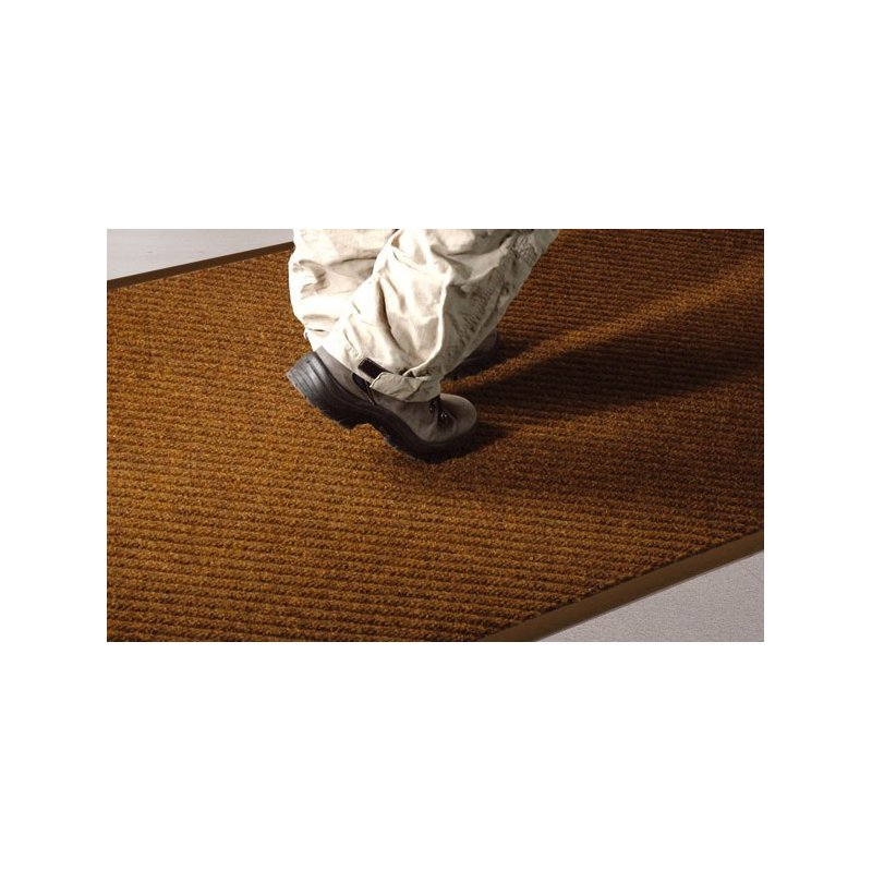 Entrance mat Cross brown doormat with rough structure