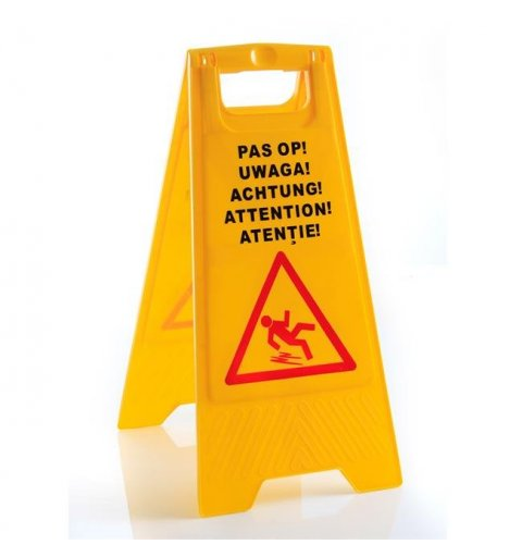 Potykacz informacyjny uwaga śliska podłoga żółty