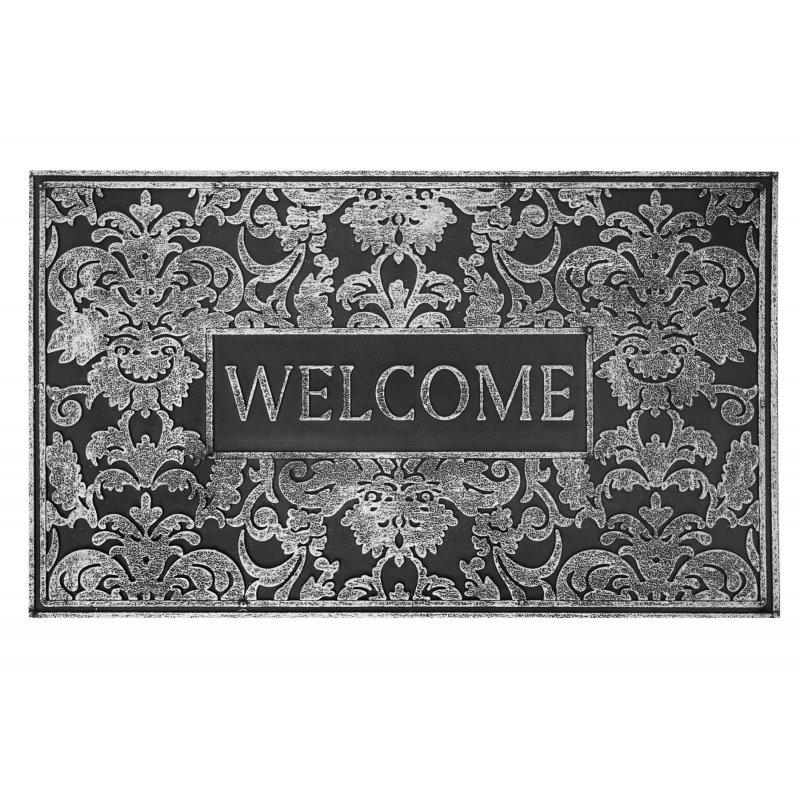 Wycieraczka gumowa Malaga welcome srebrna 45x75